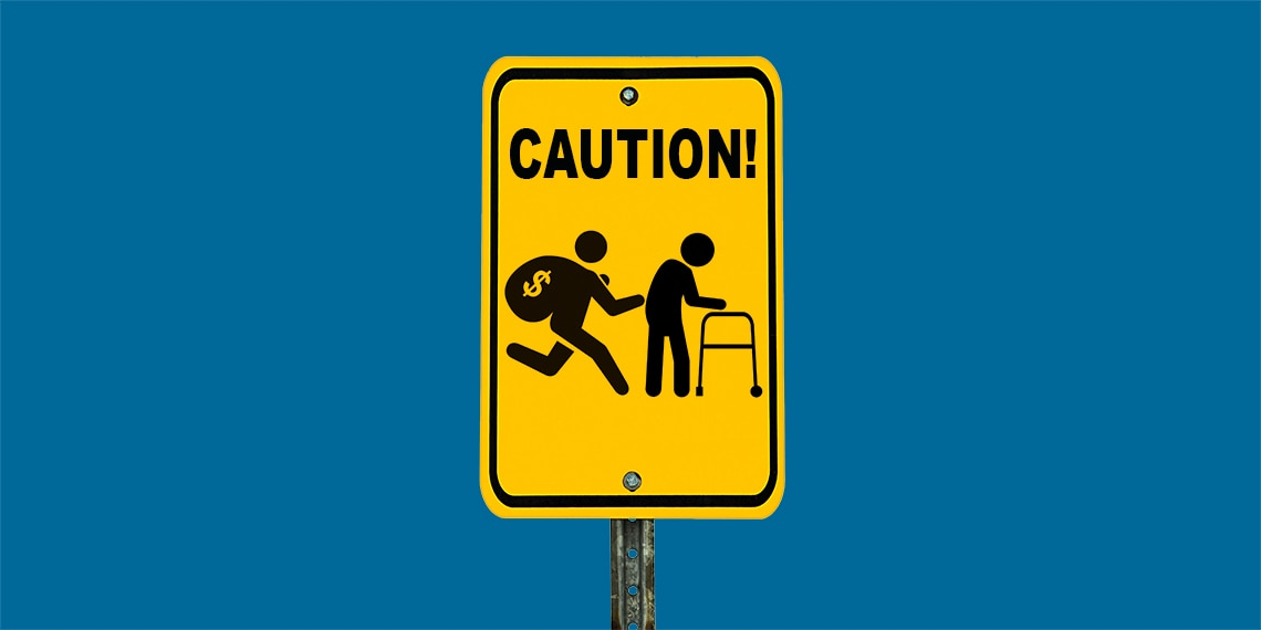 A caution sign with a person using a walker.