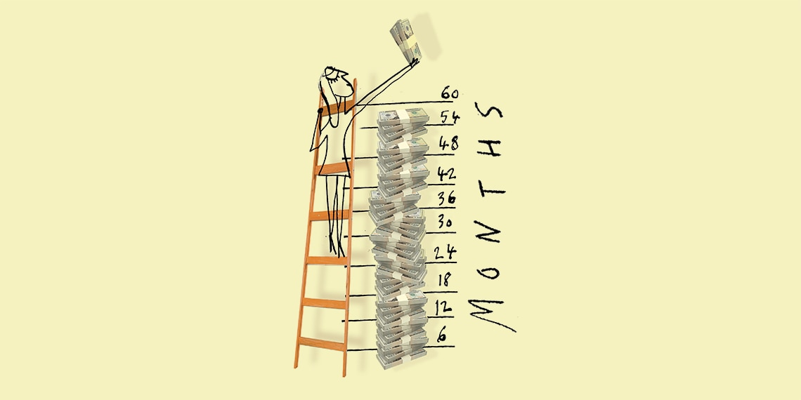 Woman standing on a ladder that is annotated with months; 6, 12, 18, 24, etc.